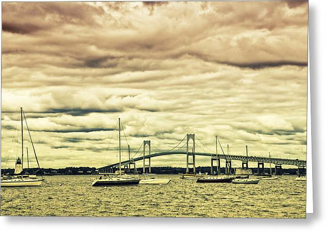 Sailboats In Harbor Greeting Cards - Storm Brewing In Newport Greeting Card by Karol  Livote