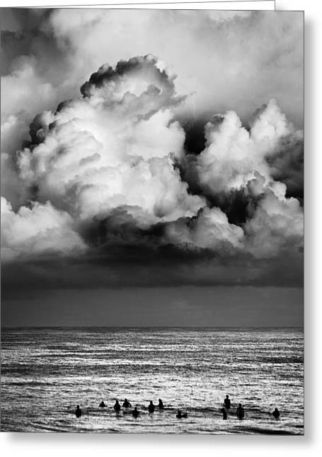 Storm Clouds Greeting Cards - Storm brewing over Pipeline Greeting Card by Sean Davey