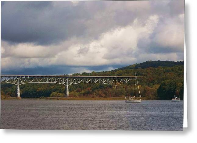 Grey Clouds Greeting Cards - Storm Brewing over Rip Van Winkle Bridge Greeting Card by Ellen Levinson