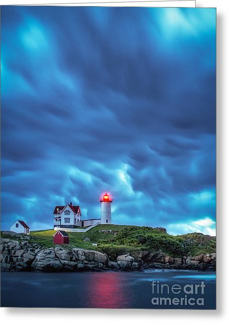 Cape Neddick Lighthouse Greeting Cards - Storm Brewing Greeting Card by Scott Thorp