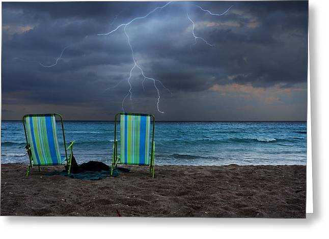 Empty Chairs Photographs Greeting Cards - Storm Chairs Greeting Card by Laura  Fasulo