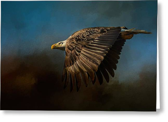 Eagles In Flight Greeting Cards - Storm Chaser - Bald Eagle Greeting Card by Jai Johnson