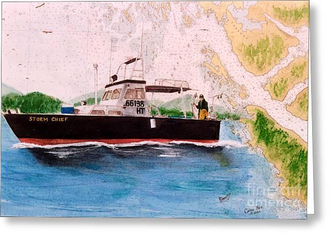Salmon Paintings Greeting Cards - STORM CHIEF AK Salmon Fishing Boat Nautical Chart Art Greeting Card by Cathy Peek