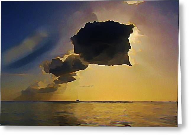 John Malone Artist Greeting Cards - Storm Cloud over Calm Waters Greeting Card by John Malone