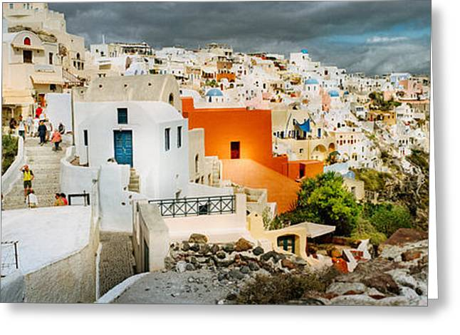 Storm Clouds Greeting Cards - Storm Cloud Over The Santorini Greeting Card by Panoramic Images