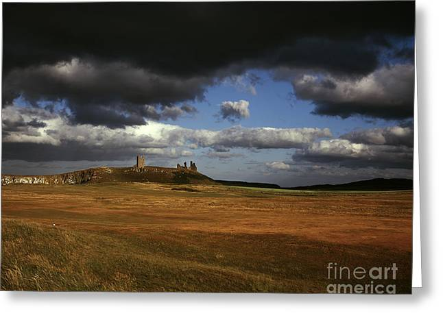 Embleton Greeting Cards - Storm clouds and Dunstanburgh Castle  at Embleton Bay Embleton Northumberland England Greeting Card by Michael Walters