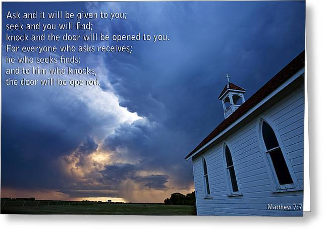 Old Country Roads Greeting Cards - Storm Clouds and Scripture Matthew country church Greeting Card by Mark Duffy
