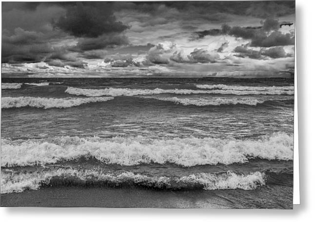 Sturgeon Greeting Cards - Storm Clouds and waves by the shore in Sturgeon Bay Greeting Card by Randall Nyhof
