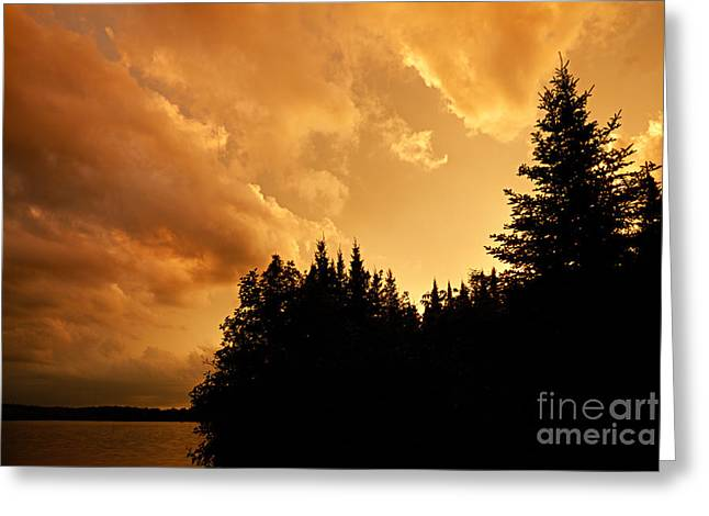 Boundary Waters Greeting Cards - Storm Clouds at Sunset Greeting Card by Larry Ricker