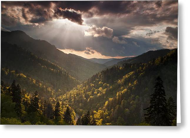 Great Smoky Mountains Greeting Cards - Storm Clouds Breaking Greeting Card by Andrew Soundarajan