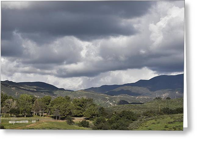 Clouds Over Canyon Greeting Cards - Storm Clouds from Santiago Canyon Road VI Greeting Card by Linda Brody