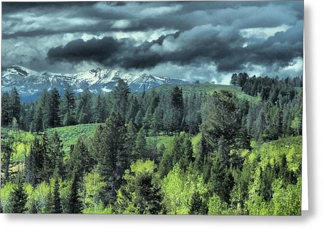 Photography Lightning Greeting Cards - Storm Clouds In The Tetons Greeting Card by Dan Sproul