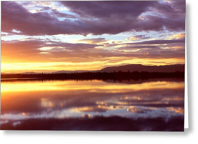 Pinus Greeting Cards - Storm Clouds Over A Lake At Sunrise Greeting Card by Panoramic Images
