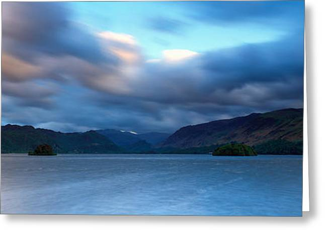 Overcast Day Greeting Cards - Storm Clouds Over A Lake, Derwent Greeting Card by Panoramic Images