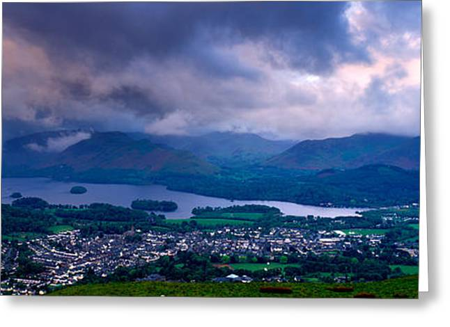 Overcast Day Greeting Cards - Storm Clouds Over A Landscape, Keswick Greeting Card by Panoramic Images