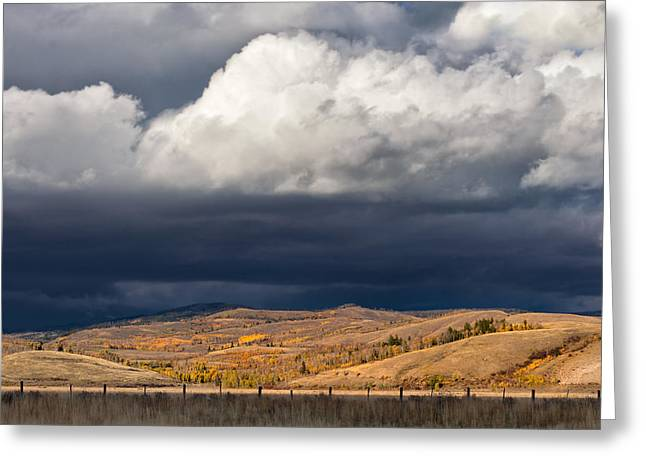 Bishop Hill Greeting Cards - Storm Clouds over Blacktail Butte Greeting Card by Kathleen Bishop