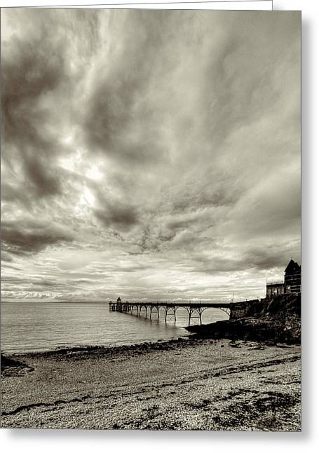 Storm Clouds Over Clevedon Pier Greeting Card by Rachel Down