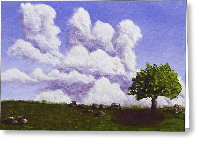 Maine Farms Paintings Greeting Cards - Storm Clouds Over Maine Blueberry Field Greeting Card by Keith Webber Jr
