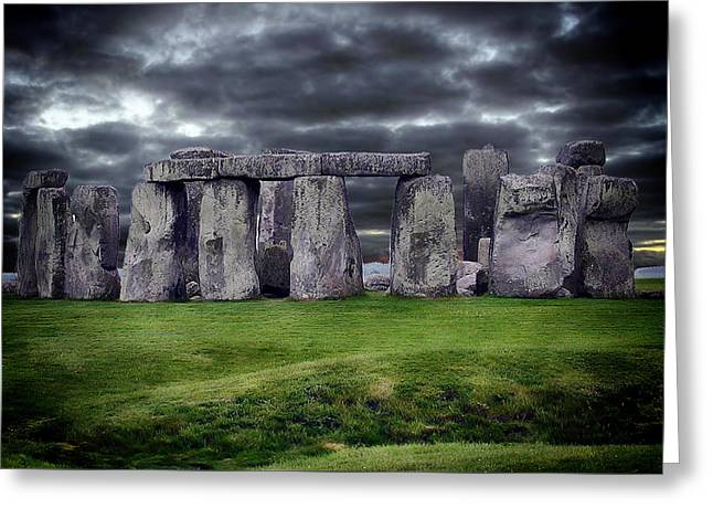 Historic Site Greeting Cards - Storm Clouds Over Stonehenge Greeting Card by Anthony Dezenzio