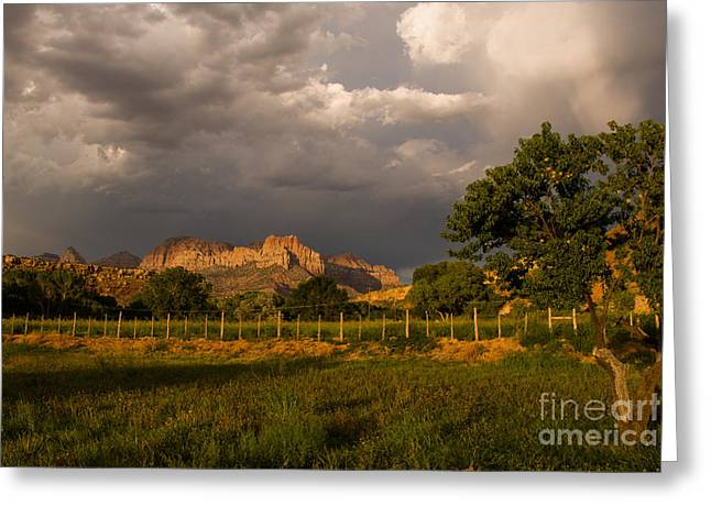 Geobob Greeting Cards - Storm Clouds over the Zion National Park Peaks seen from Rockville Utah Greeting Card by Robert Ford