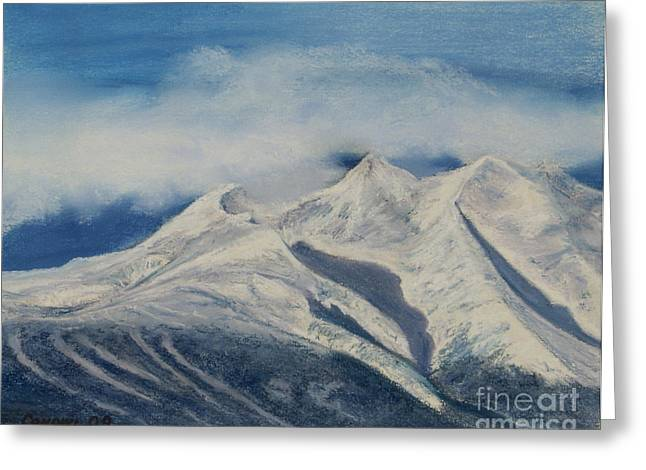 Fog Pastels Greeting Cards - Storm Clouds Over Winter Mountain Blues Greeting Card by Stanza Widen