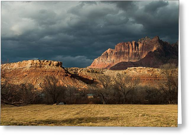 Geobob Greeting Cards - Storm Clouds Rising over Mount Kinesava Zion Park Rockville Utah Greeting Card by Robert Ford