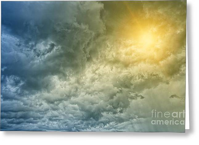 Abstract Sunburst Greeting Cards - Storm clouds with sunburst Greeting Card by Antony McAulay