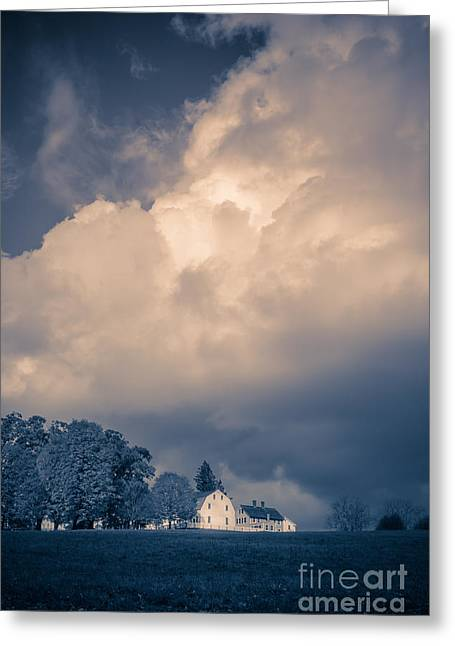 Clapboard House Greeting Cards - Storm coming to the old farm Greeting Card by Edward Fielding