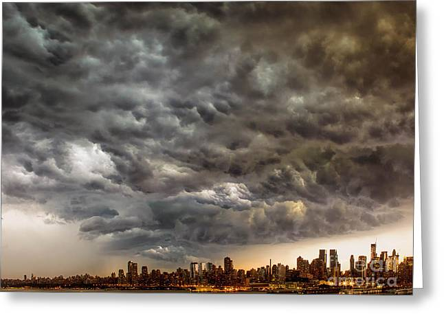 Storm Prints Digital Art Greeting Cards - Storm Coulds over NYC Greeting Card by Jerry Fornarotto