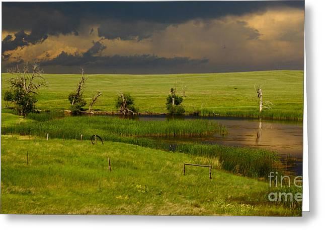 Storm Crossing Prairie 1 Greeting Card by Robert Frederick