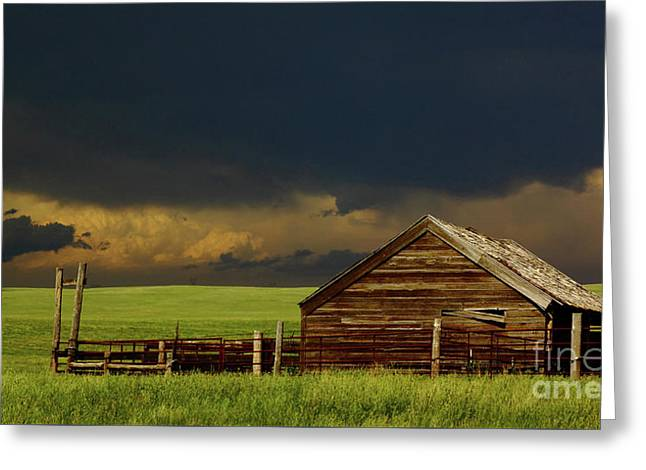 Dark Clouds. Greeting Cards - Storm Crossing Prairie 2 Greeting Card by Robert Frederick