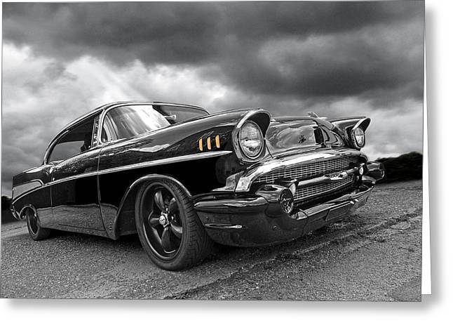 Big Block Chevy Greeting Cards - Storm Cruiser - 57 Chevy Greeting Card by Gill Billington