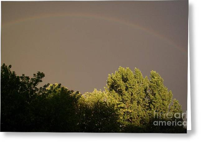 Storm Lovers Art Greeting Cards - Storm effects rainbow with highlights Greeting Card by Gail Matthews