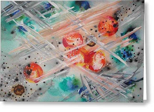 Outerspace Greeting Cards - Storm Fury Greeting Card by Krystyna Spink