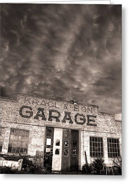Thunderstorm Greeting Cards - Storm Garage Greeting Card by Chris  Allington