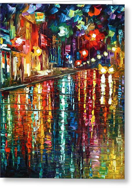 City Rain Greeting Cards - Storm in The City Greeting Card by Leonid Afremov