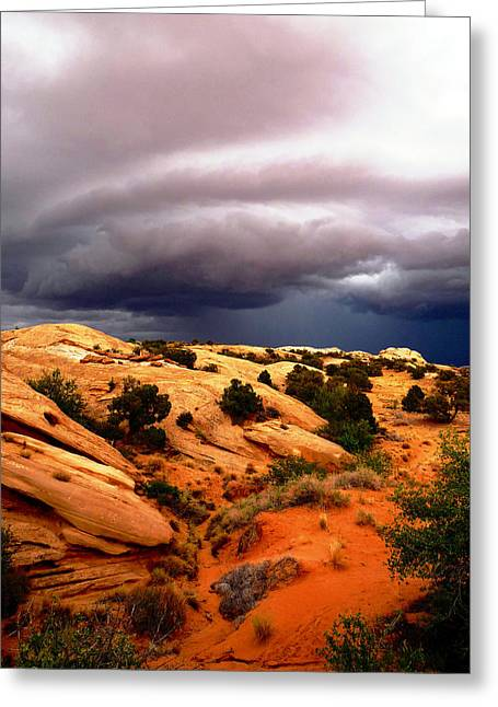 Whalley Greeting Cards - Storm in the Desert Greeting Card by Tranquil Light  Photography