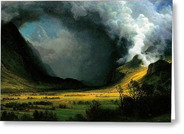 C.1870 Greeting Cards - Storm in the Mountains Greeting Card by Albert Bierstadt