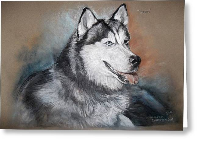 Husky Drawings Greeting Cards - Storm Greeting Card by Jennifer Christenson