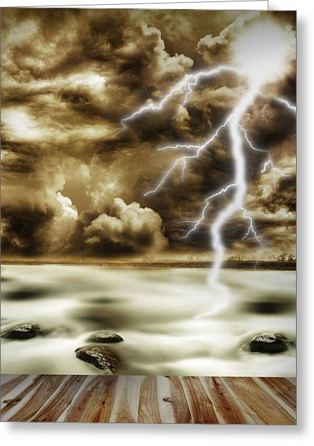 Ominous Sky Greeting Cards - Storm Greeting Card by Les Cunliffe