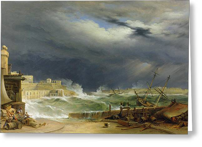 Harbor Greeting Cards - Storm Malta Greeting Card by John or Giovanni Schranz