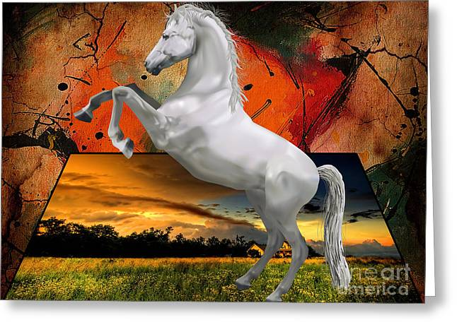 Horses Mixed Media Greeting Cards - Storm Greeting Card by Marvin Blaine