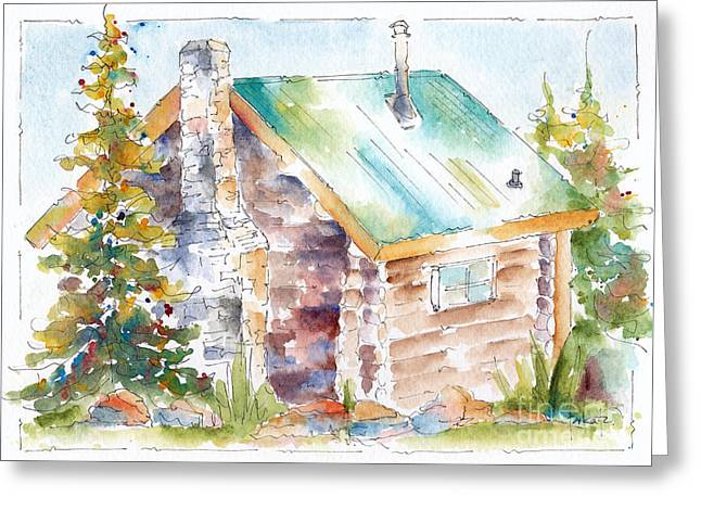 Viridian Greeting Cards - Storm Mountain Cabin Greeting Card by Pat Katz