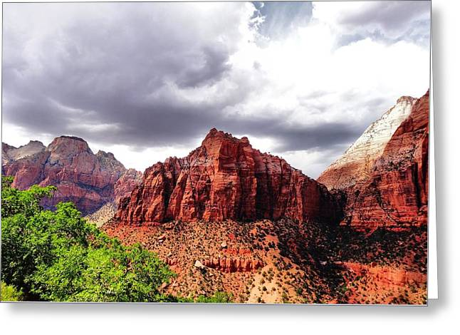 Storm Moving In Over Zion Greeting Card by Dan Sproul