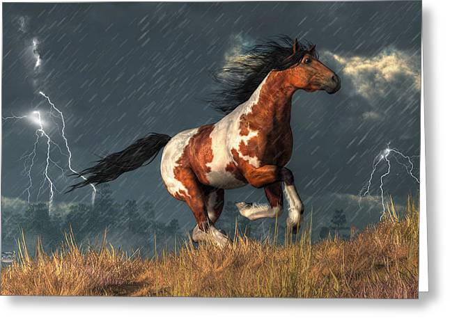 Spotted Horse Greeting Cards - Storm Mustang Greeting Card by Daniel Eskridge