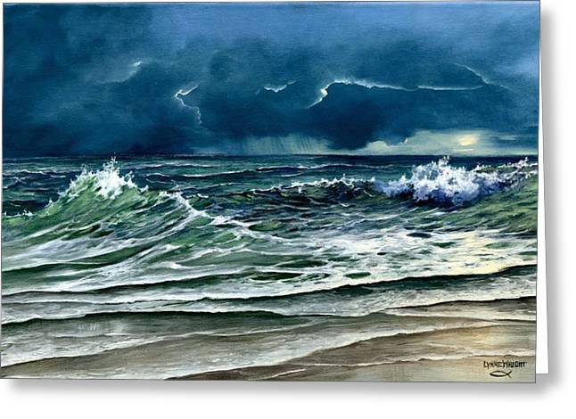 Turbulent Blue Skies Paintings Greeting Cards - Storm Off Yucatan Mexico Greeting Card by Lynne Wright