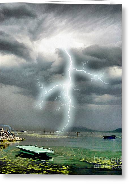 Images Lightning Paintings Greeting Cards - Storm on Balaton lake Greeting Card by Odon Czintos