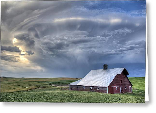 Barn Wood Greeting Cards - Storm on Jenkins Rd Greeting Card by Latah Trail Foundation