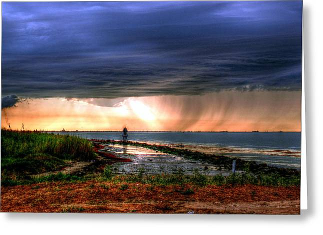 Storm On The Bay Greeting Card by Robert Brown