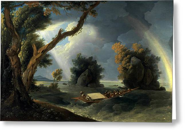 The Ganges Greeting Cards - Storm on the Ganges with Mrs Hastings near the Colgon Rocks Greeting Card by William Hodges